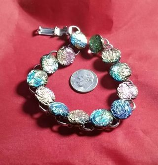 ART GLASS BRACELET HAND MADE AND JUST BEAUTIFUL COLORS TAKE A LOOK WOW!