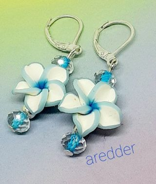 Blue Flower and Crystal Leverback 925 Sterling Earrings NEW