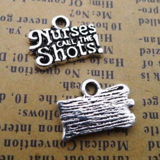30Pcs Word Charms Nurses Call THE Shots Silver Beads Pendants DIY Jewelry