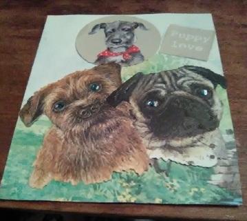 """ Puppy Love "" Design Blank Note Card"