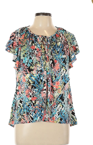 BNWT Sunny Leigh Ruffle Floral Short Sleeve Top - Size L