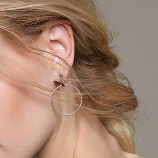 SMJEL Korean Simple Earrings for Women Geometric Big Circle Ear Drop Earrings Brincos Jewelry