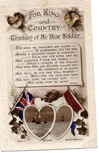 Vintage used postcard: For King and Country, Thinking of my Dear Soldier