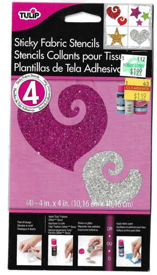 TULIP Sticky Fabric Stencils-  4X4 Hearts & Stars
