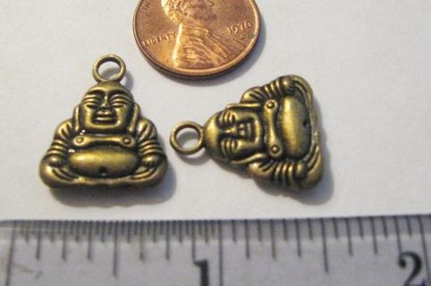 2 Bronze Color Budda Charms - Make some earrings!