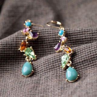 Women Jewelry Multicolor Long Alloy Crystal Earring Drop Earrings