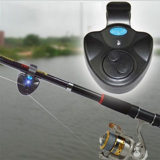 Clip On Fishing Rod Electronic LED Light Fish Bite Sound Alarm Bell Black
