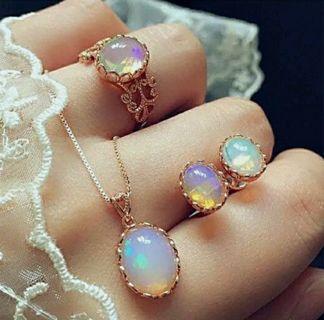 Fashion women Crystal opal jewelry set necklace pendant chain earrings ring
