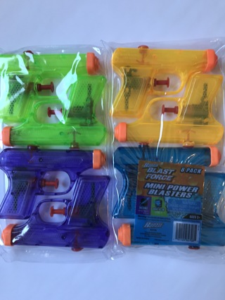 Mini Power Blasters Water Squirt Guns ~ 8 pack ~ NEW ~ NIP