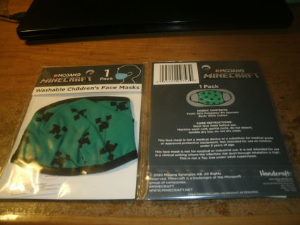 lot of 2 new!mojang-minecraft washable children`s face mask-new!