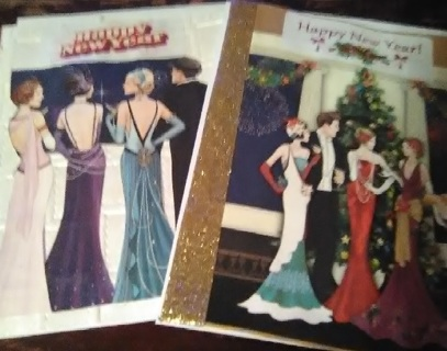 2 New Year Design Blank Note Cards with Envelopes