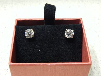 NEW REAL 14KT YELLOW GOLD DIAMOND SCREW BACK PIERCED EARRINGS 1.28 CARAT