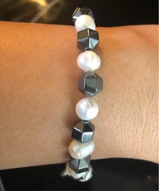 Hematite and Baroque Pearl Bracelet