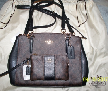 OMG~COACH~ SIGNATURE SM CHRISTIE CARRYALL BAG NWT $395 Plus MATCHING WRISTLET