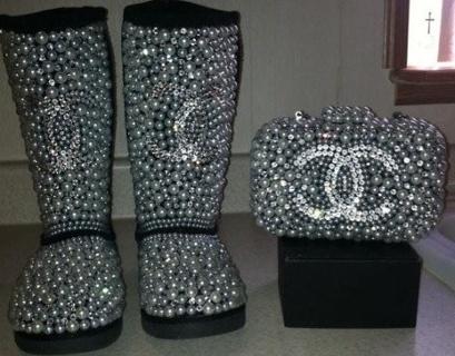 09a18c84a9e Free: Beautiful Rhinestone Ugg Boots~ Chanel inspired design. So ...