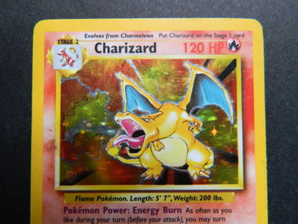 c1999 Wizards CHARIZARD 4/102 Rare HOLO Base Set Pokemon Card - FREE Shipping!