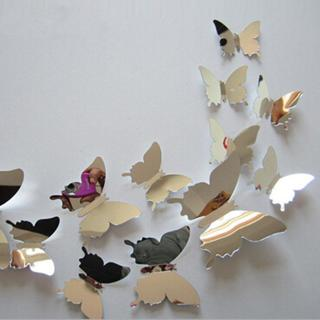 12pcs/set New Arrive Mirror Sliver 3D Butterfly Wall Stickers Party Wedding Decor DIY Home Decorat