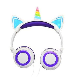 NEW Unicorn LED Light Up Headphones Colorful Vibrant Glowing Long 5 Ft Cable