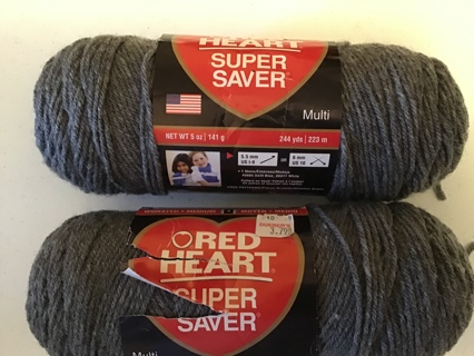 2 heather gray Red heart super saver yarn 5 oz acrylic pattern on back of label