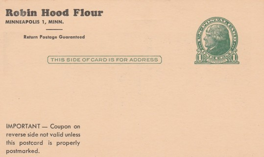 Robin Hood Flour Coupon Unused Stamped Postcard Vintage One Cent Green Left-Facing Jefferson