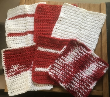 "6 Farmhouse Handmade Dishcloths 100% Red, White and a Touch of Pink ""Makes a Great Gift"""