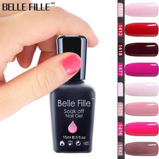 BELLE FILLE 15ml Gel Nail Polish UV Black White Pink Red Soak Off Gel Polish Gel Lacquer Nail Art