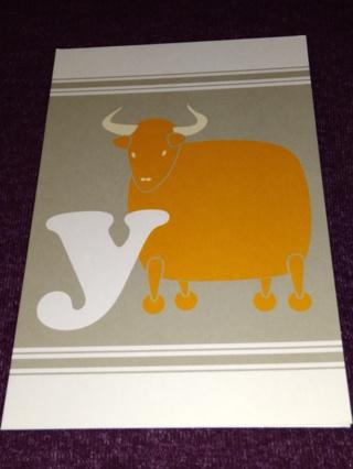 Alphabet Greeting Card - Yak (y)