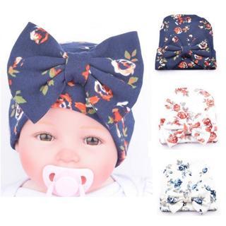 Newborn baby hat Flower Bowknot baby cap Infant Girls autumn hats Hospital Cap Soft Cotton Toddler