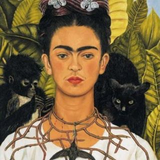 Frida Kahlo Self Portrait With Thorn Necklace & Hummingbird blank greeting card free ship