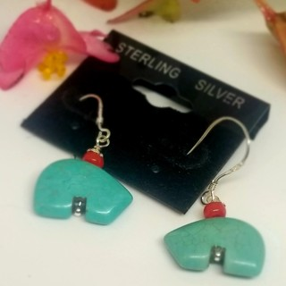 ZUNI Bears Turquoise Sterling Earrings 925'New free ship