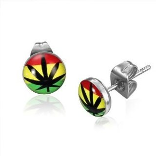 NEW Rasta Colors Earrings Marijuana Leaf Ganja 420 Jewelry HOT TOPIC