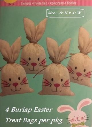 ♨(New) Pkg. of 4 Burlap Bunny Treat Bags w/ Ties ♨
