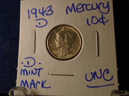 UNC! 1943-D MERCURY DIME -D- MINT MARK UNC CONDITION!