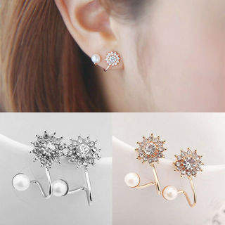 NEW Fashion Jewelry Women Lady Elegant Pearl Rhinestone Ear Stud Earring Vintage New