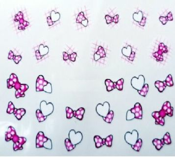 Bows and Hearts Nail Art Tips Sticker Decals Water Transfer Manicure Decorations (29 stickers)