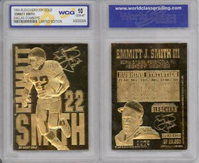 1995 EMMITT SMITH DALLAS COWBOYS 23K GOLD SCULPTURED CARD - GEM-MINT 10
