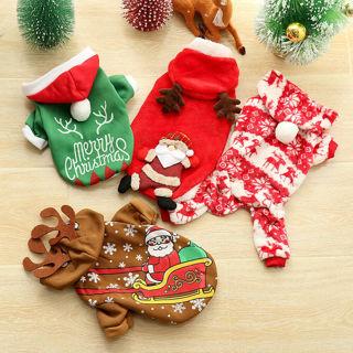 Claus Xmas Christmas Costume Dog Jumpsuit Puppy Hoodie Cat Vest Pet Clothes