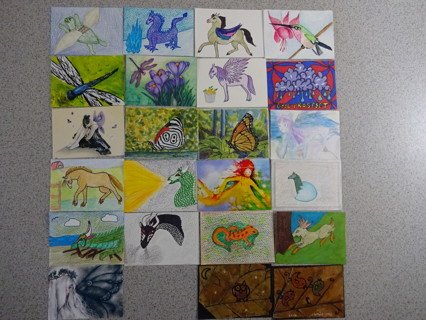 Huge lot of 50 Hand Crafted ACEO Art Trading Cards