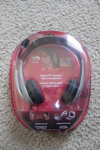Cyber Acoustics AC-201 Silver/Black Headband Headset DNCT4 Noise Canceling Micro
