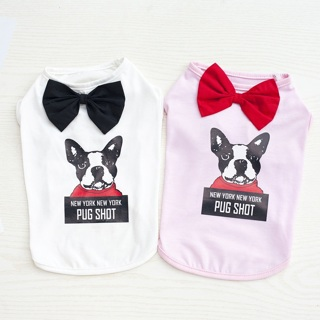 New Summer Pet Clothing Gentleman Dog Vest Letters Cute Teddy Bear Clothes