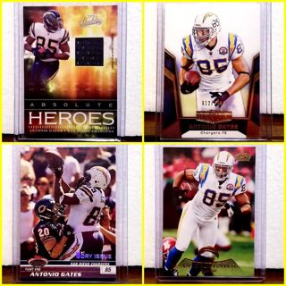 ANTONIO GATES = nfl 4 pack> all limited edition #'d > SAN DIEGO/LOS ANGELES CHARGERS LEGEND!