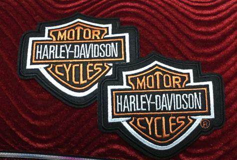 2 MOTORCYCLE BIKER BADGES DIY CLOTHING IRON ON PATCHES BLACK ORANGE FREE SHIPPING