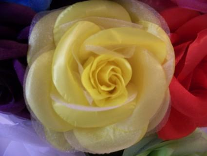 Free Jumbo Silk Organza Flower Brooch Hair Pin Yellow Other