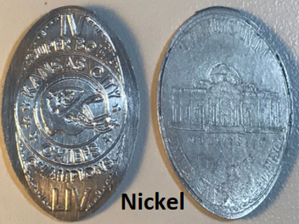 NEW!!! KANSAS CITY CHIEFS SUPERBOWL CHAMPIONS IV & LIV Elongated Cent for on a NICKEL (NOT a Penny)!