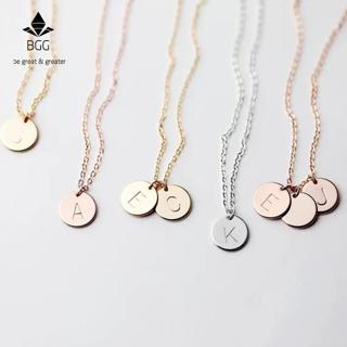 BGG Simple Metal Round Coin Alphabet Letter Pendant Stainless Steel Choker Necklace Gold Chain Wom