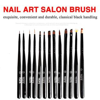 1pcs/lot 13 Styles black Handle Brushes Nail Art Liner Flower Painting Coating Shaping Flat Fan An