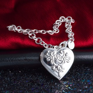 [GIN FOR FREE SHIPPING] 925 Sterling Silver Photo Locket Bracelet Vintage Flower Heart