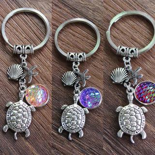 Mermaid Scale Turtle Starfish Shell Key Chain Bag Pendant Handbag Keyring Decor