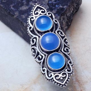 PRETTY BLUE CHALCEDONY ANTIQUE STYLE GEMSTONE RING SIZE 8