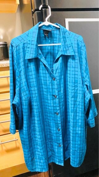 Maggie Barnes Button Up with Attached Shell Plus size 3X